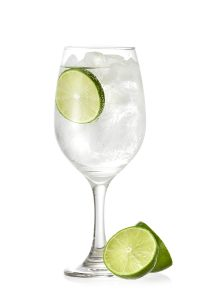 Gin tonic served in a glass of wine; Shutterstock ID 641026009; Purchase Order: -